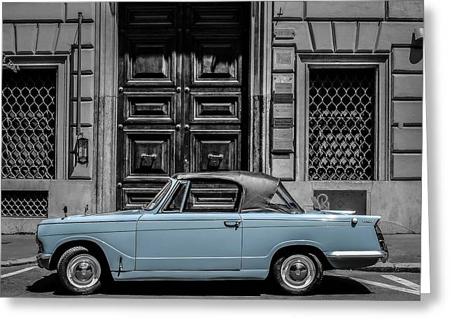 Blue Classic Car Greeting Cards - Classic Vintage Car Rome Italy Greeting Card by Edward Fielding