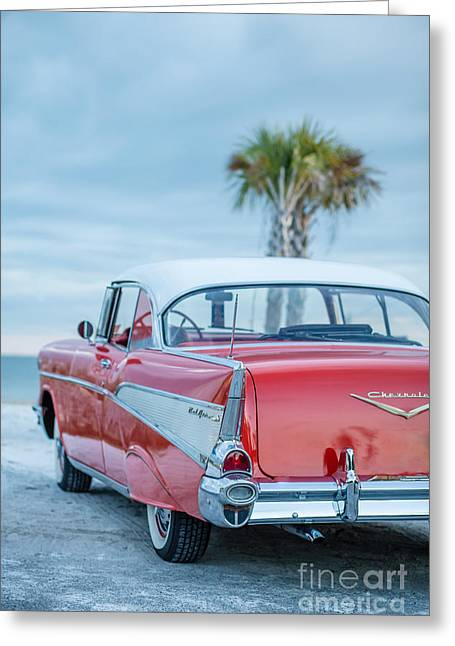 Oldtimers Greeting Cards - Classic Vintage Red Chevy BelAir  Greeting Card by Edward Fielding