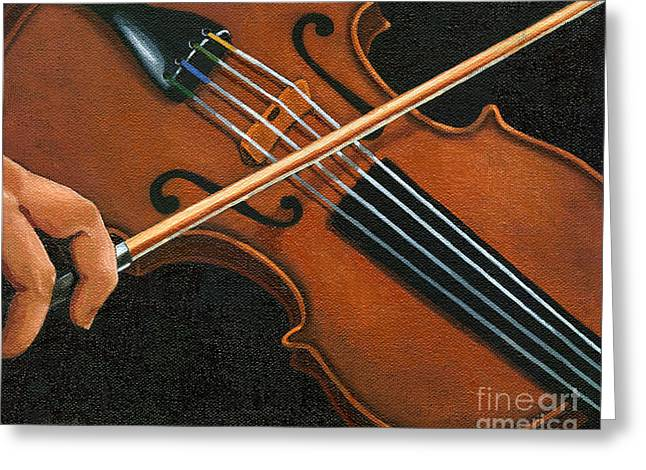 Classic Violin Greeting Card by Linda Apple