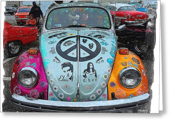 The Love Bug Greeting Cards - Classic VW Beetle Love Bug Greeting Card by Rebecca Korpita