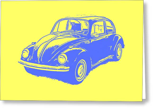 Design Drawings Greeting Cards - Classic VW Beetle Tee Blue Ink Greeting Card by Edward Fielding