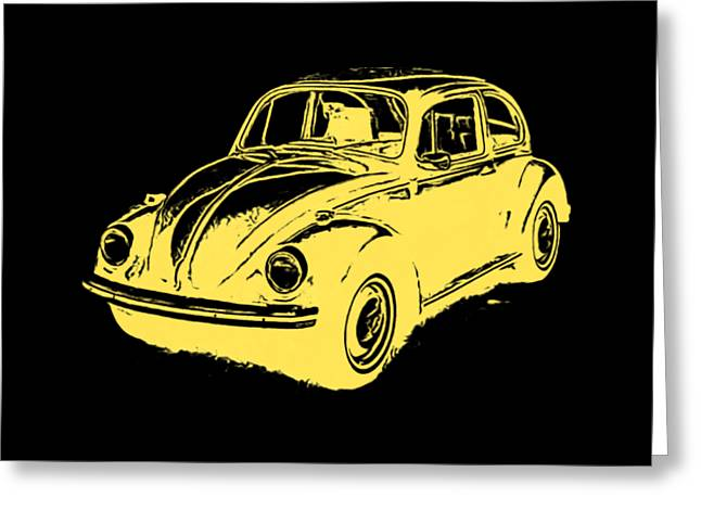 Classic Vw Beetle Tee Yellow Ink Greeting Card by Edward Fielding