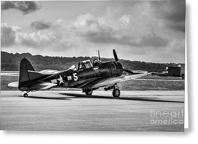 Carrier Greeting Cards - Classic Warbird At Lunken Airport BW Greeting Card by Mel Steinhauer