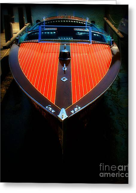 Cruising Photographs Greeting Cards - Classic Wooden Boat Greeting Card by Perry Webster