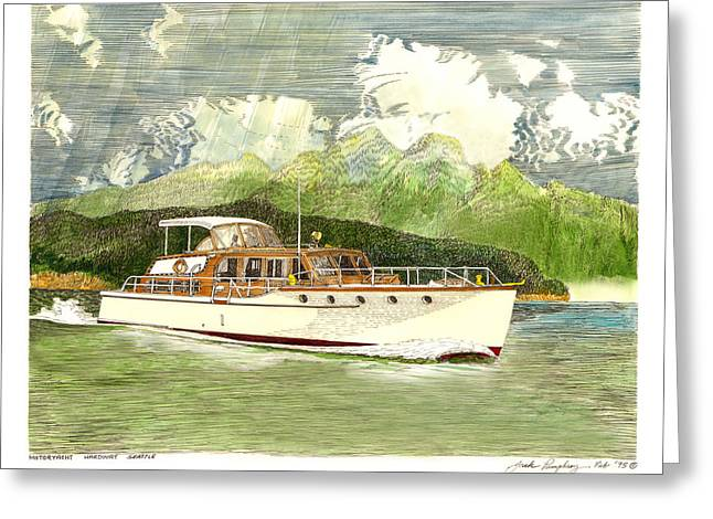 Seattle Framed Prints Greeting Cards - Classic Yacht Hardway of Seattle Greeting Card by Jack Pumphrey