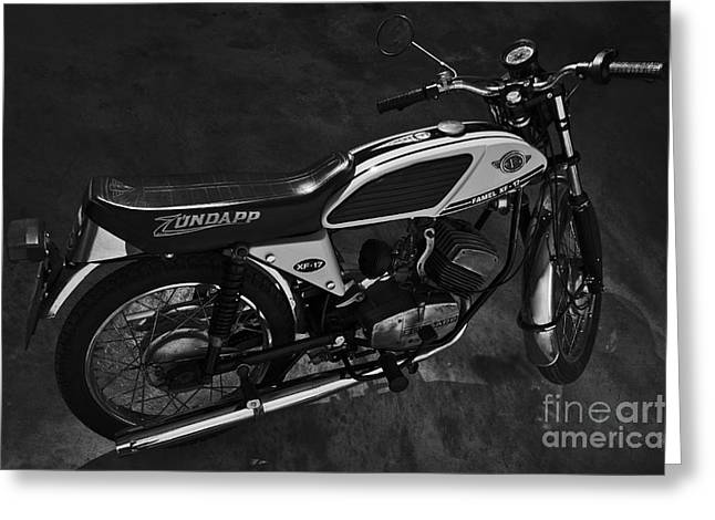 Component Greeting Cards - Classic Zundapp bike XF-17 in the garage. Monochrome Greeting Card by Angelo DeVal