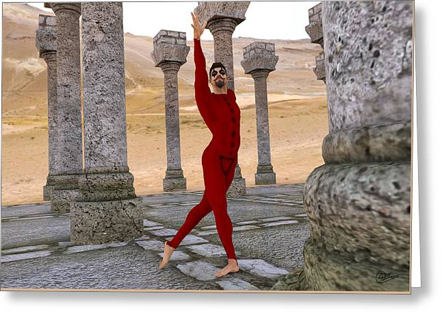 Ballet Dancers Greeting Cards - Classical dancer in the desert ruins Greeting Card by Joaquin Abella