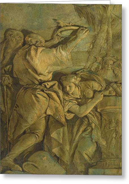 Classical Figures Conducting An Antique Greeting Card by Giovanni Domenico