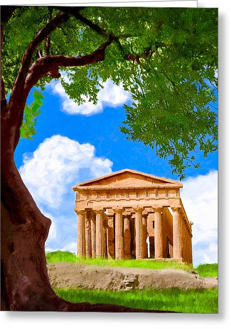Greek Temple Greeting Cards - Classical Greek Temple - Ruins of Akragas Greeting Card by Mark E Tisdale