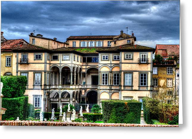 Tuscan Sunset Greeting Cards - Classical Italian Villa with Statues Plants and Brooding Grey  Greeting Card by John Williams