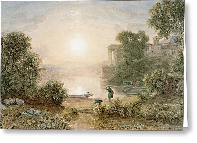 Nature Scene Paintings Greeting Cards - Classical Landscape Greeting Card by George the Younger Barret