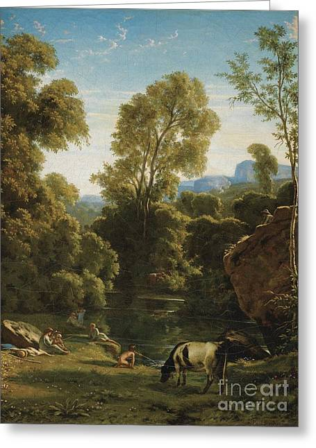 Flandrin Greeting Cards - Classical Landscape With Figures By A Lake Greeting Card by Paul-jean Flandrin