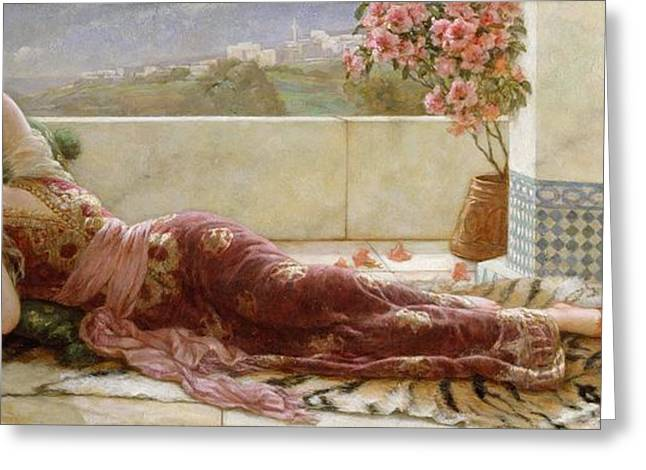 Classical Paintings Greeting Cards - Classical Reclining Girl  Greeting Card by Emile Eismann Semenowski
