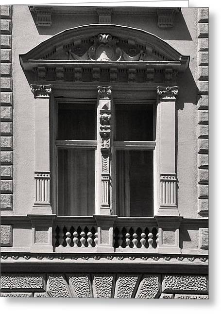 Belle Epoque Reliefs Greeting Cards - Classical Window Detail Budapest Greeting Card by James Dougherty