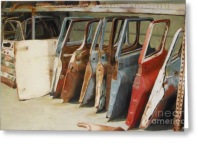 Rusted Cars Paintings Greeting Cards - Classics Greeting Card by Tessa Broek