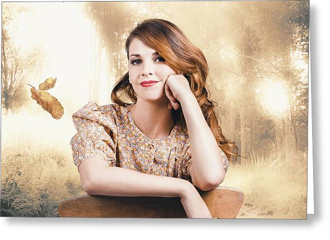 Classy Girl Enjoying The Fall Of Autumn Greeting Card by Jorgo Photography - Wall Art Gallery