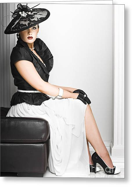 Classy Lady In Elegant Fashion Greeting Card by Jorgo Photography - Wall Art Gallery