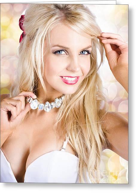Discern Greeting Cards - Classy woman wearing diamond jewelry chocker Greeting Card by Ryan Jorgensen