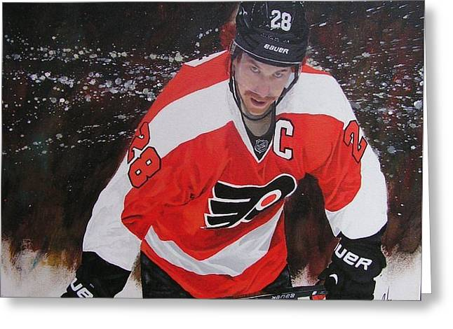 Hockey Paintings Greeting Cards - Claude Giroux Greeting Card by William Boehmer