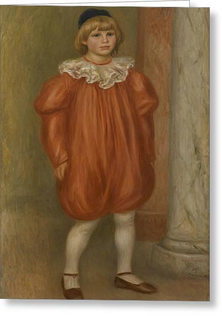 Renoir Greeting Cards - Claude Renoir in Clown Costume Greeting Card by Auguste Renoir