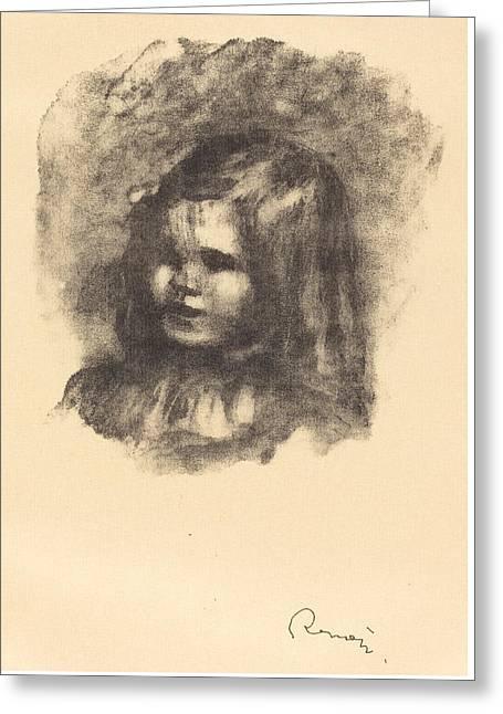 Shading Drawings Greeting Cards - Claude Renoir - Turned Left - claude Renoir - Tourne A Gauche Greeting Card by Auguste Renoir