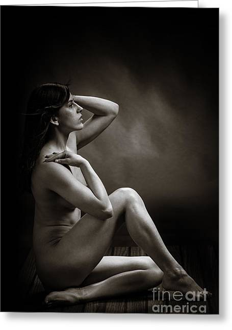 Claudia Nude Fine Art Print In Sensual Sexy Black And White Or S Greeting Card by Kendree Miller