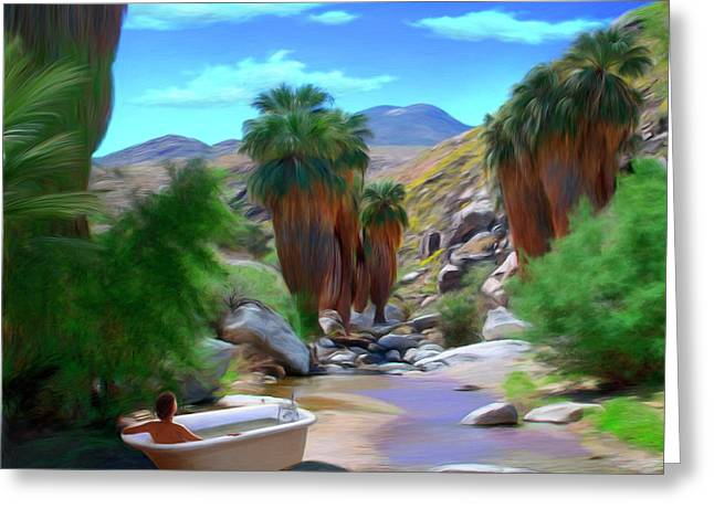Surreal Landscape Mixed Media Greeting Cards - Clawfoot Greeting Card by Snake Jagger