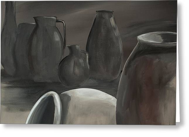 Subtle Colors Greeting Cards - Clay Pots Gray 3 Greeting Card by Anna Donahue
