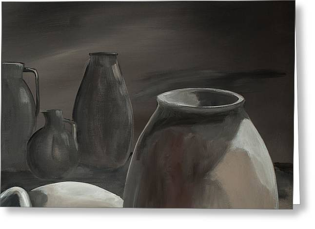 Subtle Colors Greeting Cards - Clay Pots Gray 4 Greeting Card by Anna Donahue