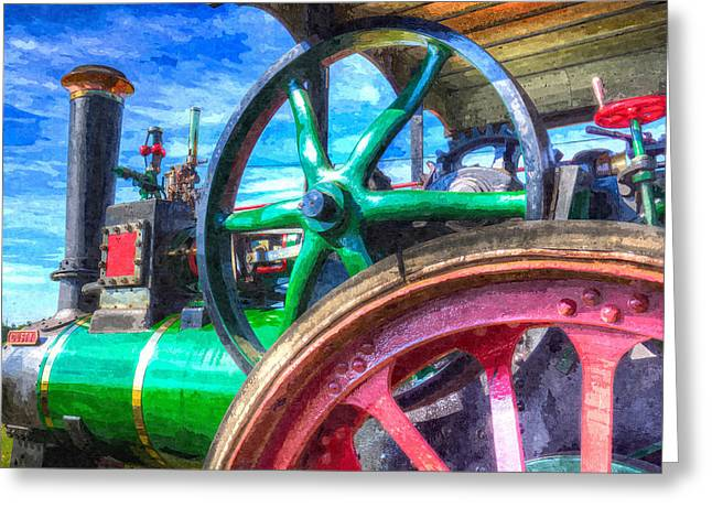 Clayton Digital Greeting Cards - Clayton and Shuttleworth Traction Engine Art Greeting Card by David Pyatt