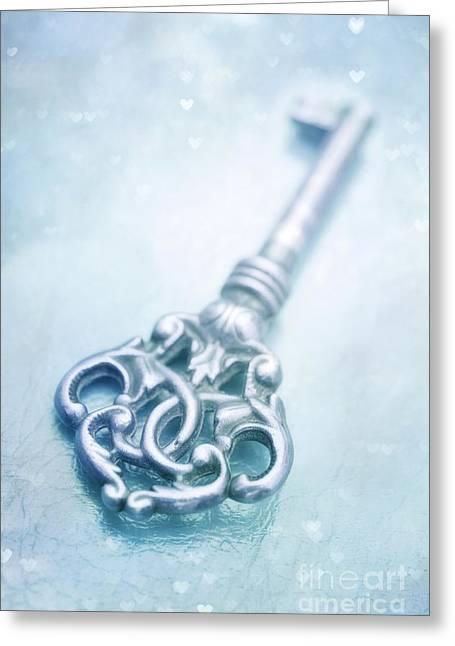 Keys Photographs Greeting Cards - Cle Bleu Greeting Card by Priska Wettstein