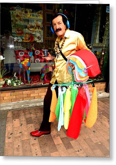 Cloth Greeting Cards - Cleaning Cloth Street Salesman Greeting Card by Daniel Gomez