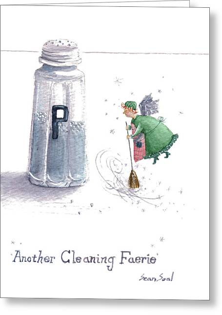 Apron Greeting Cards - Cleaning Fairy Green Greeting Card by Sean Seal