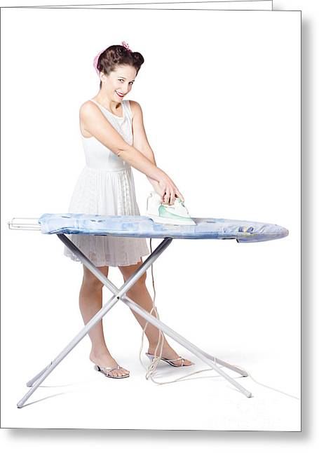 Ironing Board Greeting Cards - Cleaning lady steam pressing ironing board cover Greeting Card by Ryan Jorgensen