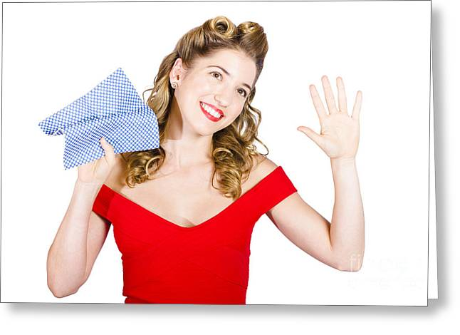 Spotless Greeting Cards - Cleaning pin up maid holding washer rag on white Greeting Card by Ryan Jorgensen