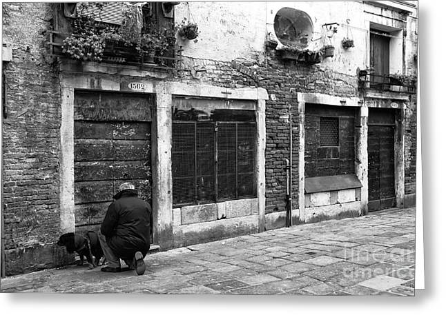 Old Street Greeting Cards - Cleaning Up in Venice Greeting Card by John Rizzuto