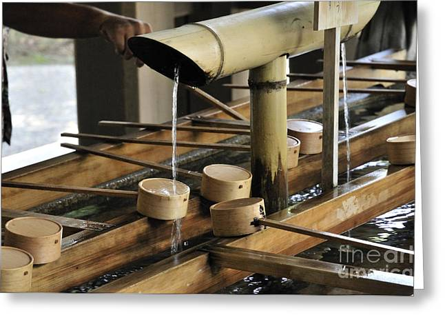 Meiji Greeting Cards - Cleansing purification fountain with ladels at the Meiji Shrine Yoyogi Park Tokyo Japan Greeting Card by Andy Smy
