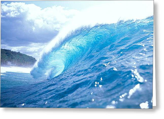 Clear Blue Wave Greeting Card by Vince Cavataio - Printscapes
