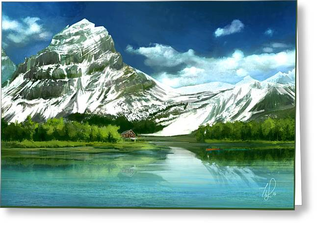 Clear Lake And Mountains Greeting Card by Thubakabra