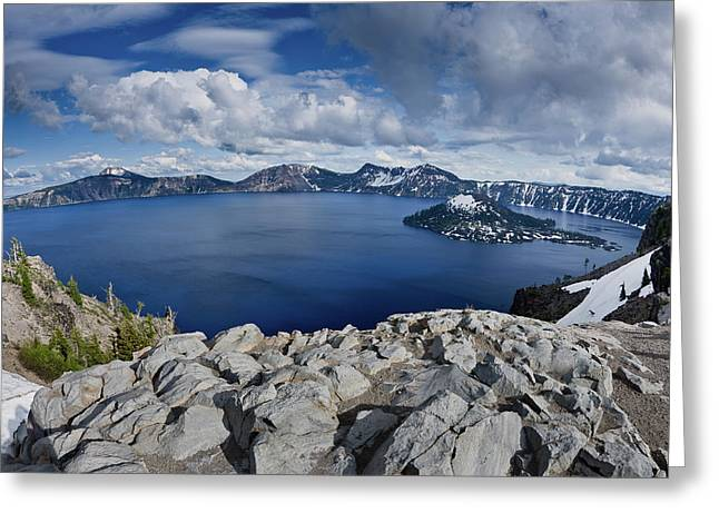 Umpqua River Greeting Cards - Clearing Storm at Crater Lake Greeting Card by Greg Nyquist