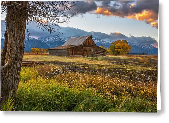 Clearing Storm Over Moulton Barn Greeting Card by Darren White