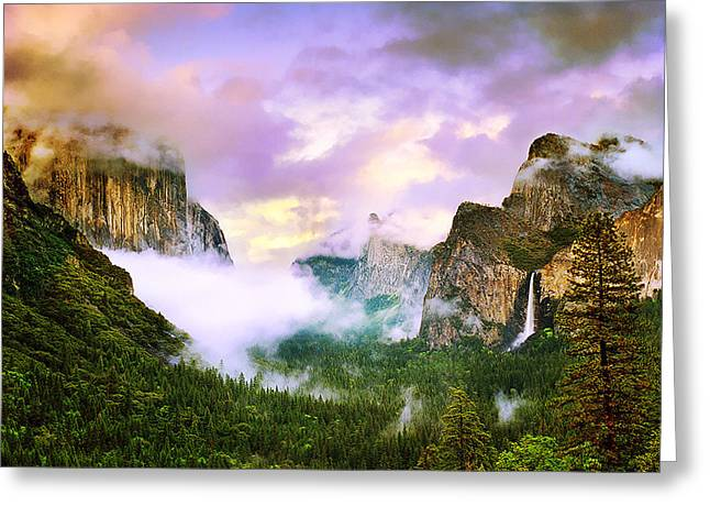 Dogwood Lake Greeting Cards - Clearing Storm Over Yosemite Valley Greeting Card by Edward Mendes