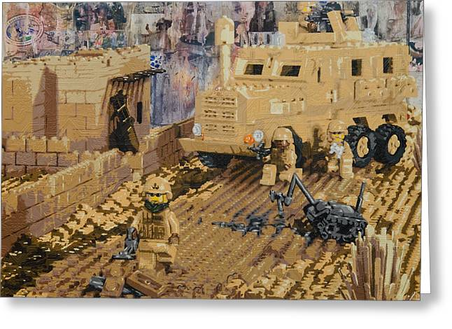 Lego Greeting Cards - Clearing the Road- Kandahar Province Afghanistan Greeting Card by Josh Bernstein