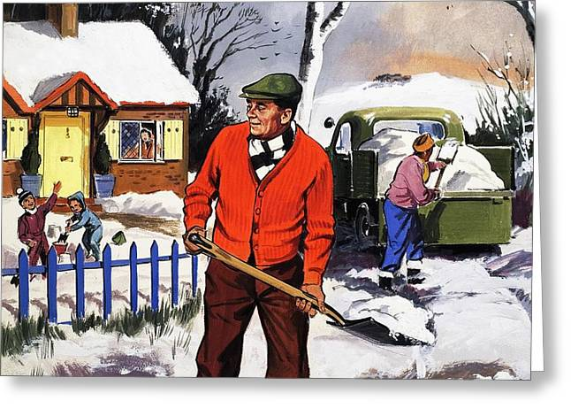 Fence Drawings Greeting Cards - Clearing the snow Greeting Card by English School