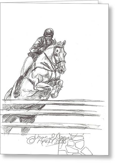 Quarter Horses Drawings Greeting Cards - Clearning the Wall Greeting Card by Nancy Degan