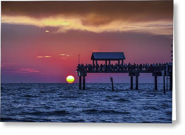 Greeting Cards - Clearwater Beach Has the Best Sunsets Greeting Card by Bill Cannon