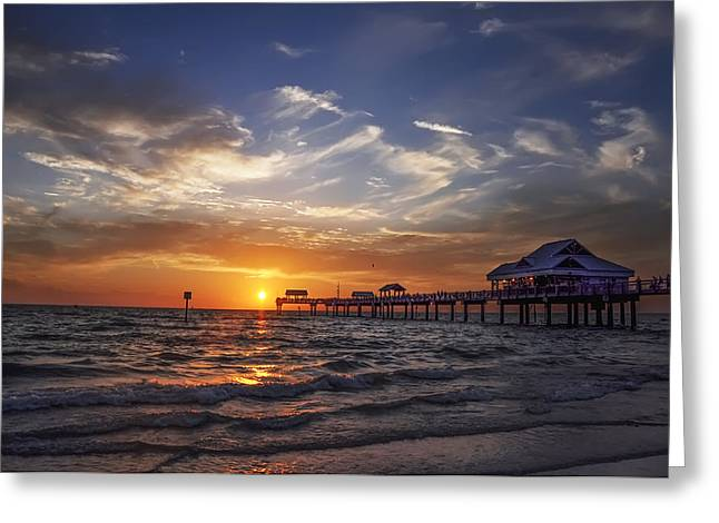 Bill Cannon Drawings Greeting Cards - Clearwater Beach Seascape Greeting Card by Bill Cannon