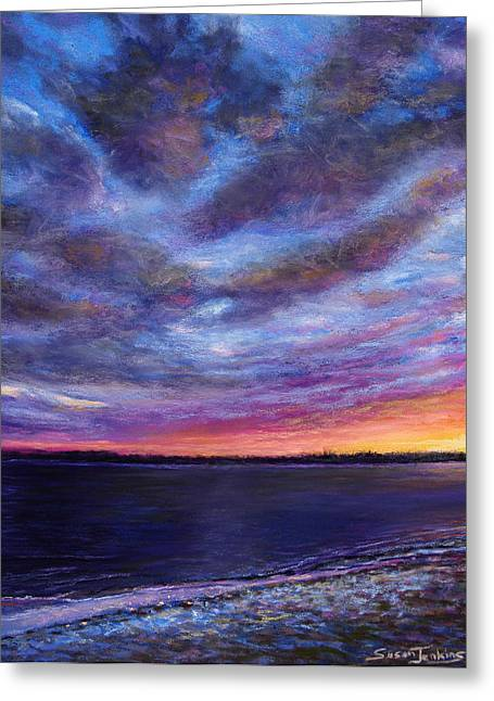 Beach Landscape Pastels Greeting Cards - Clearwater Beach Sunset Greeting Card by Susan Jenkins