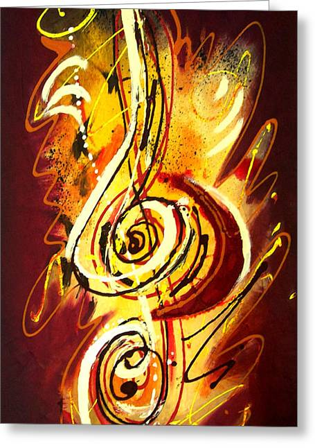 Guitare Greeting Cards - Clef de Sol Greeting Card by Margot  Asphe