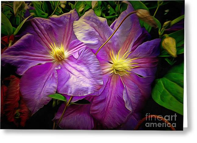 Clematis Azure Pearl Greeting Card by Dorothy Berry-Lound